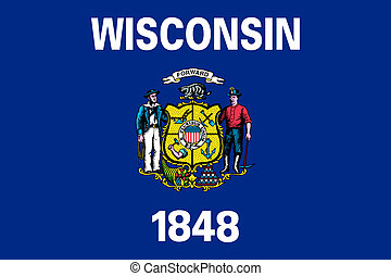 Wisconsin state flag of America, isolated on white...