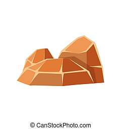 Brown mineral stones, rocks in natural environment vector...
