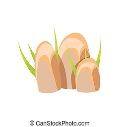 Smooth mineral stones, rocks in natural environment vector...