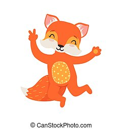 Cute orange fox character dancing, funny cartoon forest animal posing vector Illustration
