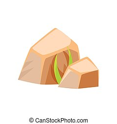 Mineral stones, rocks in natural environment vector...