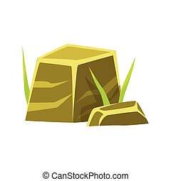 Smoothed square stones, rocks in natural environment vector...