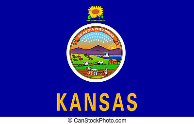 Kansas state flag of America, isolated on white background