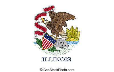 Illinois state flag of America, isolated on white background...
