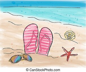 Summer flip flops in the sand on the beach. Watercolor...