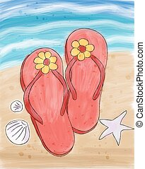Summer flip flops in the sand on the beach. - Summer flip...