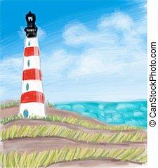 Lighthouse at the sea coast and the sea.