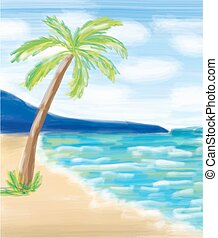 Palm tree at the sea coast and the sea.