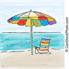 Umbrella and chairs at the sea shore and the sea.