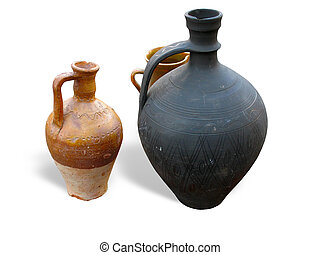antique clay pottery isolated over white background