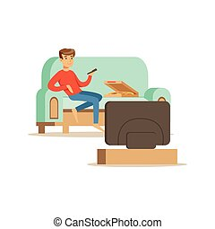 Young man character sitting on a sofa and watching TV, people resting at home vector Illustration