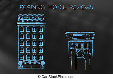 hotel next to laptop user evaluating feedback left by others