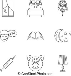 Time to sleep icon set, outline style