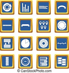 Various people icons set blue