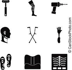 Orthopedic prosthetic icon set, simple style - Orthopedic...