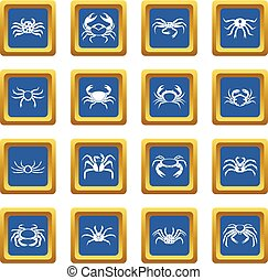 Various crab icons set blue