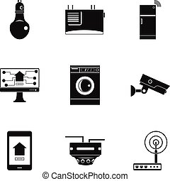 Automatic electronic device icon set, simple style -...