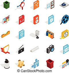 Computer expansion icons set, isometric style - Computer...