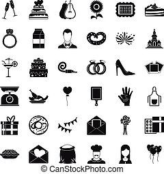 Banquet cake icons set, simple style - Banquet cake icons...
