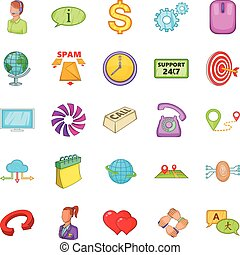 Network connection icons set, cartoon style