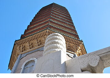 Buddhist pagoda in perspective - Close-up of a white stone...