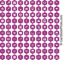 100 microscope icons hexagon violet - 100 microscope icons...