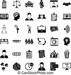 Coherence in work icons set, simple style - Coherence in...