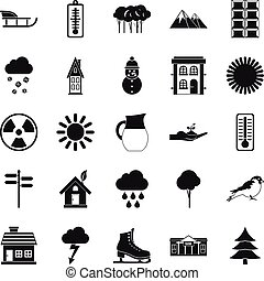 Chalet icons set, simple style - Chalet icons set. Simple...
