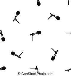 Microphone pattern seamless black