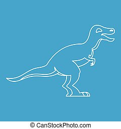 Theropod icon, outline style - Theropod icon blue outline...