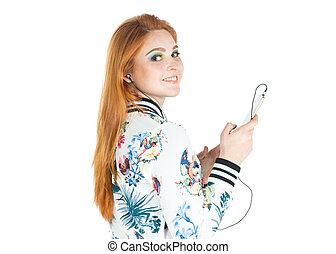 Profile of girl using cellphone and listening to music....