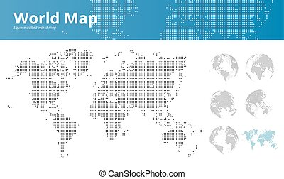 Square dotted world map and earth globes showing all...