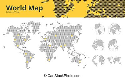 Business dotted world map with marked economic centers and earth globes showing all continents