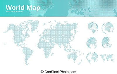 Square dotted world map with earth globes