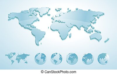3d world map illustration with earth globes showing all continents