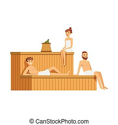 People wearing towels relaxing in sauna steam room, spa procedures colorful vector Illustration