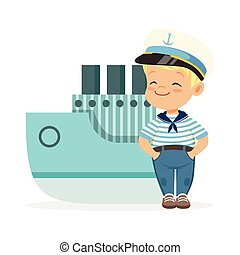 Cute smiling little boy character wearing a sailors costume...