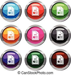 File PPT set 9 collection - File PPT set icon isolated on...