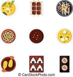Sushi bar icons set, flat style - Sushi bar icons set. Flat...