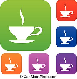 Cup of tea set collection - Cup of tea set icon in different...
