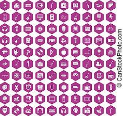 educación, iconos, violeta,  100, hexágono,  musical