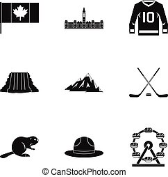 Country of Canada icon set, simple style - Country of Canada...