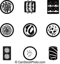 Sushi bar icons set, simple style - Sushi bar icons set....