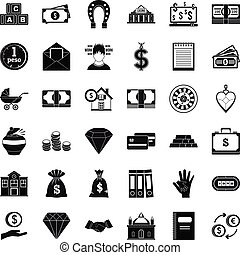 Deposit account icons set, simple style - Deposit account...