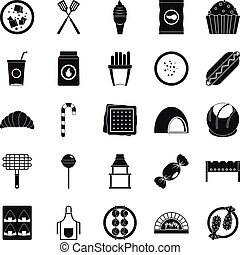 Overeating icons set, simple style - Overeating icons set....