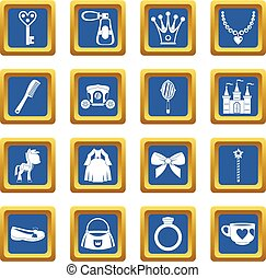 Doll princess items icons set blue