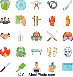 Misdeed icons set, cartoon style - Misdeed icons set....