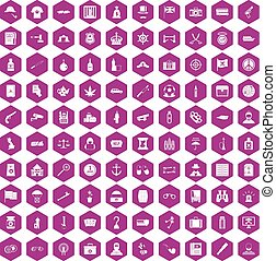 100 offence icons hexagon violet - 100 offence icons set in...