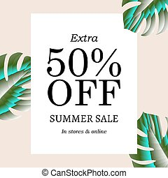 Summer Sale Banner, Vector Illustration, With Gradient Mesh
