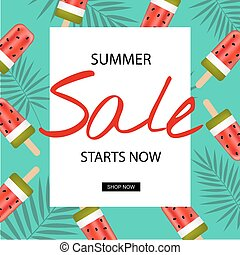 Summer Sale Poster, Vector Illustration, With Gradient Mesh